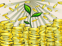 Pilas de oro del dinero con el brote verde del árbol de la riqueza Monedas de oro Ejemplo retro del vector de la riqueza brillant Imagenes de archivo
