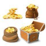 Pilas de oro de las monedas Moneda en saco viejo, pila grande del oro y pecho ilustración del vector
