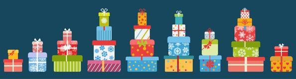 Pilas de rectángulos de regalo Diseño plano Imagen de archivo libre de regalías