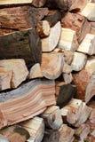 Pilas de registros de madera Fotografía de archivo
