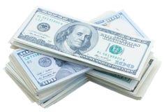 Pilas de Thre de dinero de los dólares Foto de archivo libre de regalías