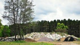 Pilas de tierra delante del bosque