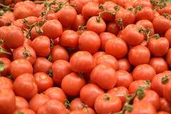Pilas de tomates en el mercado imagenes de archivo
