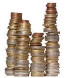 Pilas de varias monedas euro Fotografía de archivo libre de regalías