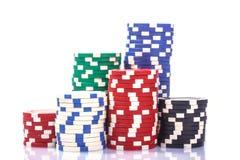 Pilas de virutas de póker Foto de archivo libre de regalías