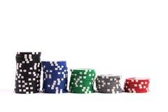 pilas de virutas de póker del casino Fotos de archivo