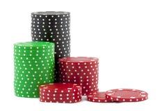 Pilas de virutas del casino Fotos de archivo libres de regalías