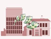 Pilas de vuelo del dinero en un fondo de edificios Foto de archivo libre de regalías