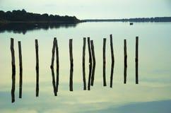 Pilas del agua en el lago Imagenes de archivo