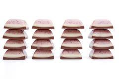 Pilas del chocolate de la vainilla de la fresa Fotografía de archivo libre de regalías