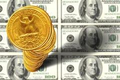 Pilas del dinero Imágenes de archivo libres de regalías
