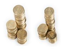 Pilas del dinero (centavo 20 centavo y 50) Fotografía de archivo libre de regalías
