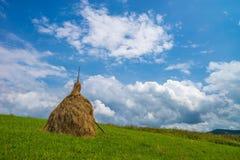 Pilas del heno en campo Verano Fotografía de archivo