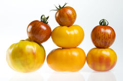 Pilas del tomate de la herencia Imagen de archivo libre de regalías