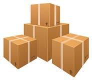 Pilas del vector de cajas de cartón stock de ilustración