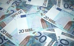 20 pilas euro de los billetes de banco Imagen de archivo