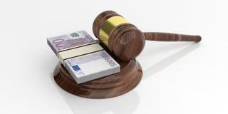 pilas euro de los billetes de banco de la representación 3d y un mazo de la subasta en el fondo blanco Imagenes de archivo