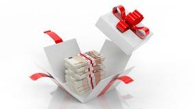 50 pilas euro de los billetes de banco en giftbox abierto con la cinta roja Imagen de archivo libre de regalías