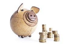 Pilas múltiples de monedas, cerdo del dinero Imágenes de archivo libres de regalías