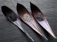 Pilas negras, blancas y fragantes de granos de la pimienta en embudos secos de la hoja en superficie de piedra negra del fondo fotografía de archivo