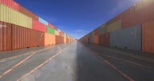 Pilas sin fin de contenedores de cargo almacen de video