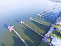 Pilastri di pesca di Kemah aerei Fotografia Stock