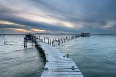 Pilastro artigianale di pesca al tramonto Immagine Stock Libera da Diritti