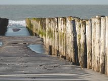 Pilastro che entra in acqua tenere la sabbia sulla spiaggia fotografie stock