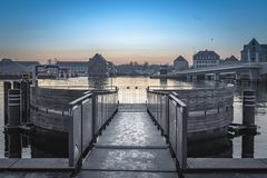 Pilastro del bus della barca di Copenhaghen immagine stock libera da diritti