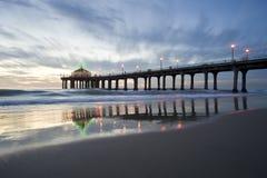 Pilastro del Manhattan Beach a natale fotografia stock