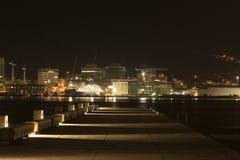 Pilastro del porto alla notte fotografia stock