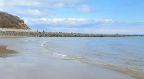 Pilastro della roccia su Plum Island, Massachusetts Fotografie Stock Libere da Diritti