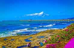 pilastro della spiaggia dell'oceano Fotografia Stock Libera da Diritti