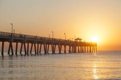 Pilastro della spiaggia di Dania ad alba Hollywood, Florida Fotografia Stock Libera da Diritti