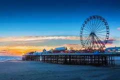 Pilastro di Blackpool e Ferris Wheel centrali, Lancashire, Regno Unito Fotografie Stock Libere da Diritti