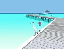 Pilastro di legno alla località di soggiorno tropicale Immagine Stock Libera da Diritti