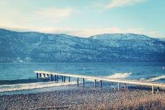 Pilastro di legno sul lago nella stagione invernale Immagini Stock Libere da Diritti