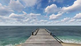 Pilastro di legno sulla spiaggia Fotografia Stock