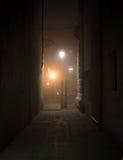 Pilastro di legno a Venezia alla notte Fotografie Stock Libere da Diritti