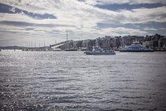 Pilastro di Oslo, orizzonte dell'acqua Fotografie Stock