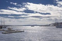 Pilastro di Oslo, orizzonte dell'acqua Fotografia Stock