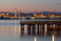 Pilastro di pesca alla spiaggia Seattle Washington di Alki Fotografia Stock