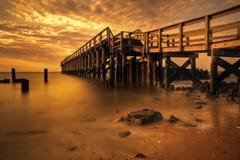 Pilastro di pesca della baia di Delaware fotografie stock libere da diritti