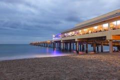 Pilastro di pesca della spiaggia di Dania, Florida Fotografie Stock Libere da Diritti