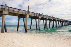 Pilastro di pesca della spiaggia di Pensacola, Florida Fotografia Stock Libera da Diritti