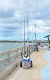 Pilastro di pesca della spiaggia di Vilano Fotografia Stock