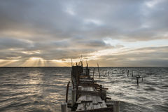 Pilastro di pesca di artesanal di Carrasqueira Fotografia Stock Libera da Diritti