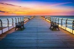 Pilastro di tramonto a Saltburn dal mare, North Yorkshire fotografia stock