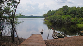 Pilastro e barche al fiume in Amazonas Brasile Fotografie Stock Libere da Diritti