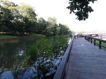 Pilastro sul lago fotografia stock
